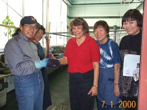 Me and Mariko at indigo dye factory